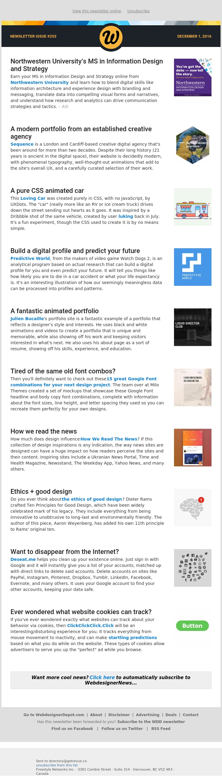 ✏ Issue #253: Google Font Combinations, Predictive World, Ethics of Good Design, Deseat.me and more...