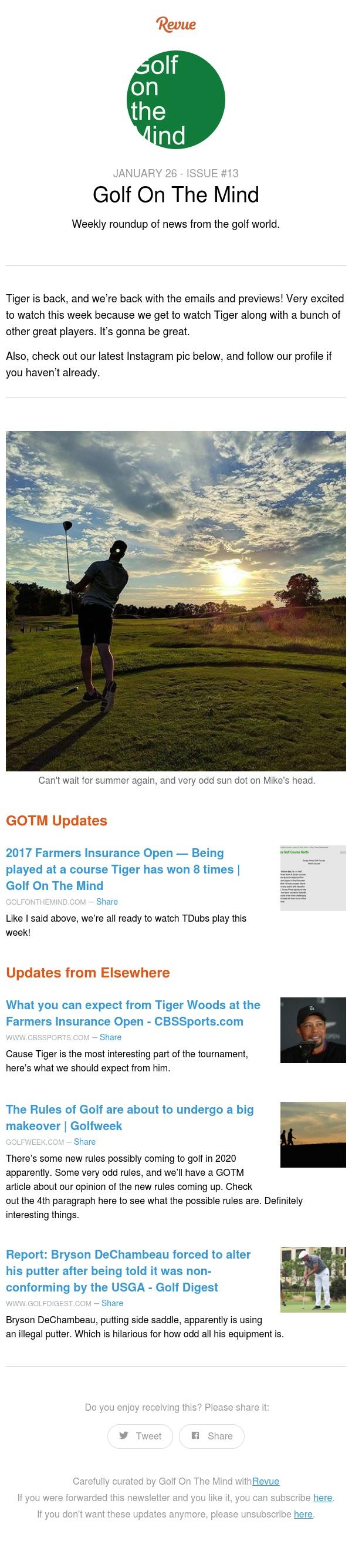 Farmers Insurance Open -- Tiger's Back!