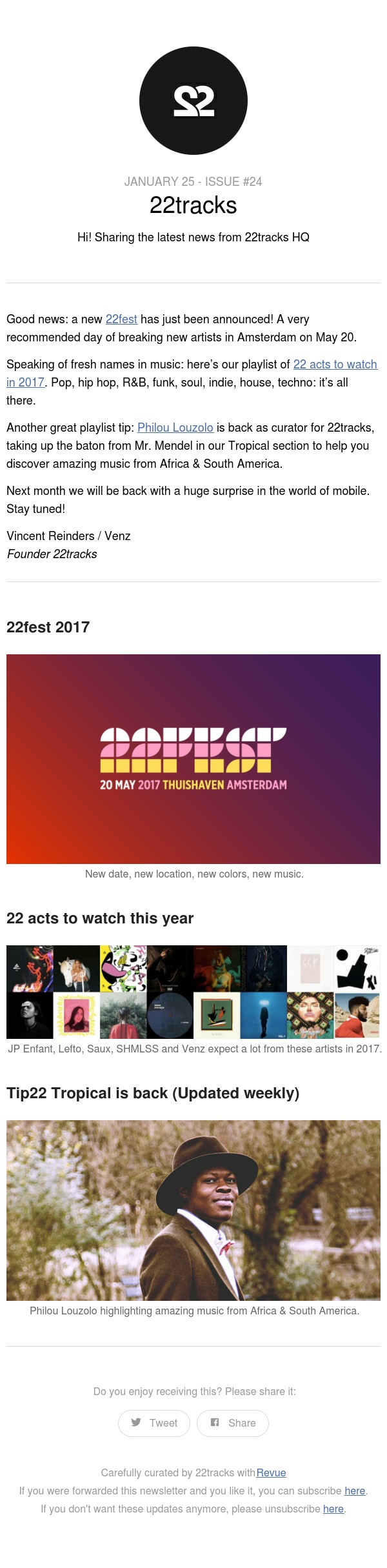 22fest, 22 acts to watch in 2017 & Tip22 Tropical - Issue #24