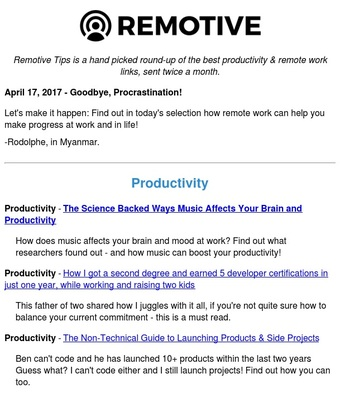 Remotive Tips   Discover by Revue