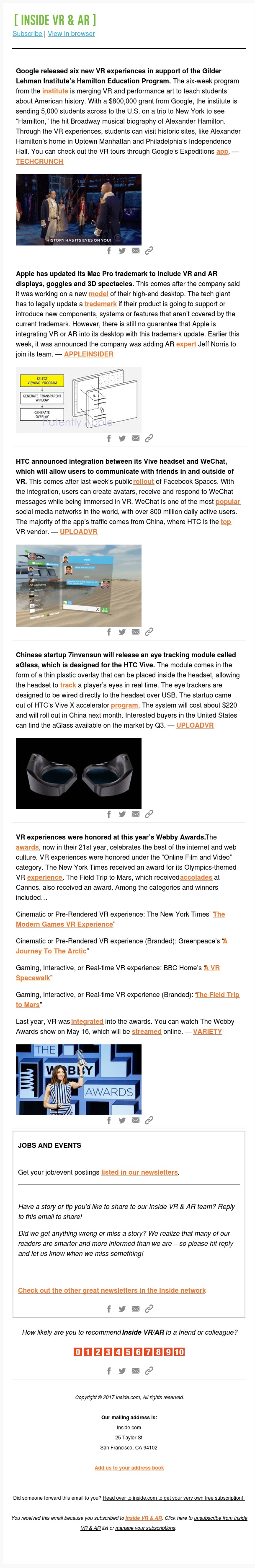 Google releases new VR tours / Apple makes trademark change / Vive integrates with WeChat