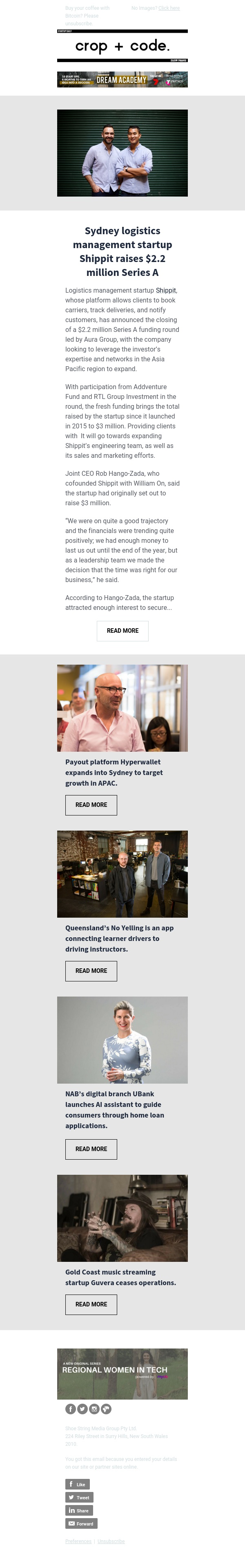 Sydney logistics management startup Shippit raises $2.2 million Series A | Payout platform Hyperwallet expands into Sydney to target growth in APAC