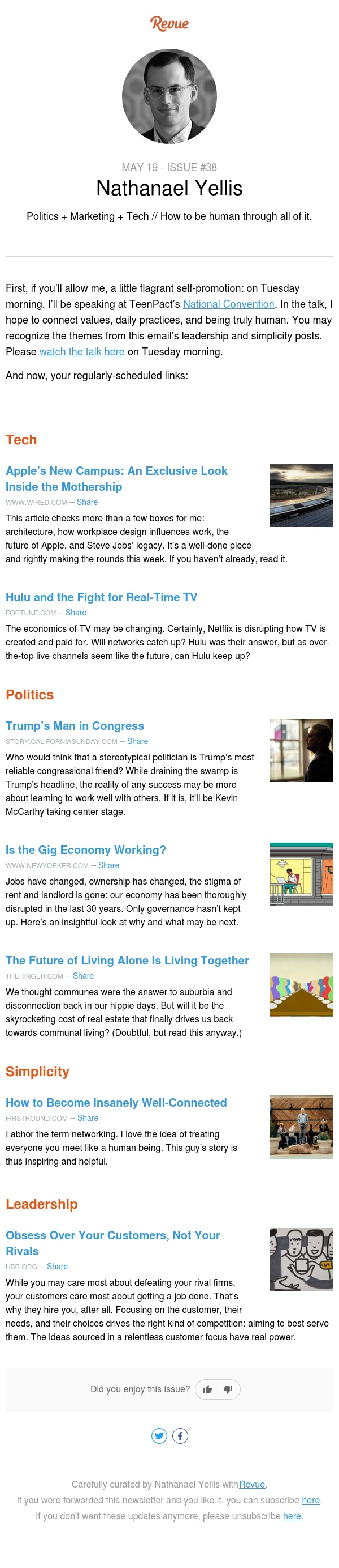 Trump's Man, the Gig Economy, Communal Living, Apple's HQ, & the Future of Hulu: this weekend's recommended reading