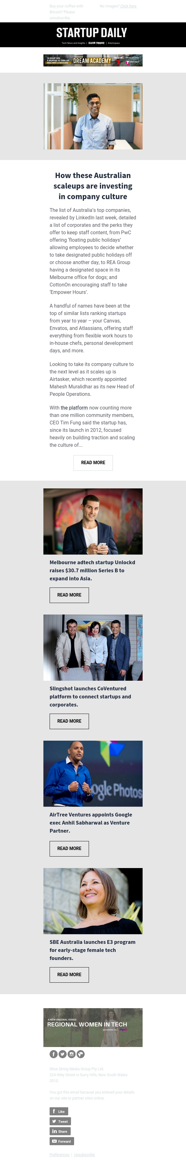 How these Australian scaleups are investing in company culture | Melbourne adtech startup Unlockd raises $30.7 million Series B to expand into Asia