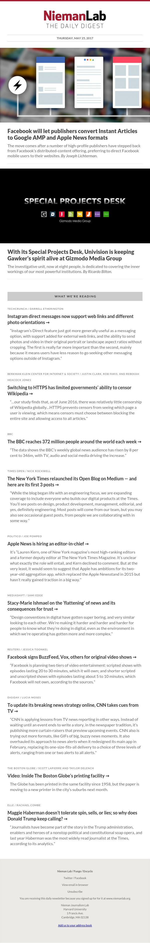 Facebook will let publishers convert Instant Articles to Google AMP and Apple News formats: The latest from Nieman Lab