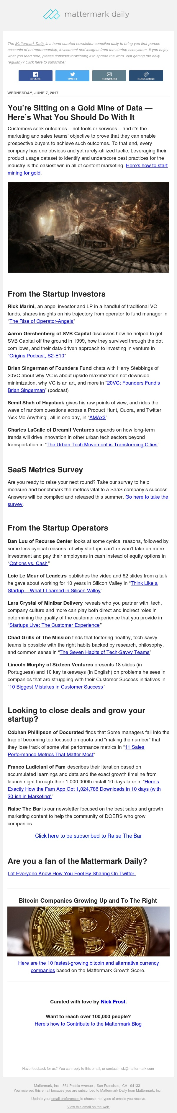 Mattermark Daily - The Rise of Operator-Angels, Equity Options vs. Cash, and More