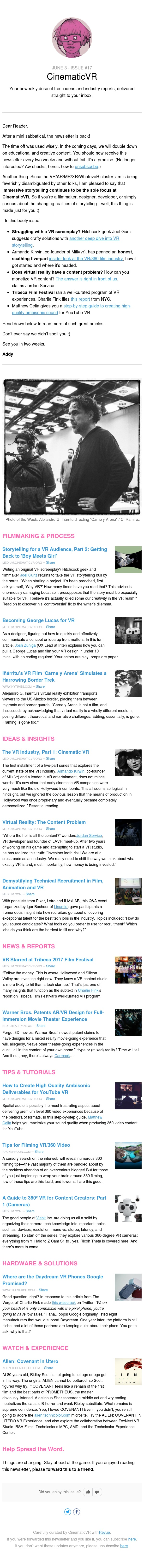 🔥 The VR Content Problem, Becoming Hitchcock, Tribeca Immersive, High-Quality Ambisonics, Alien: Covenant (Newsletter #17)