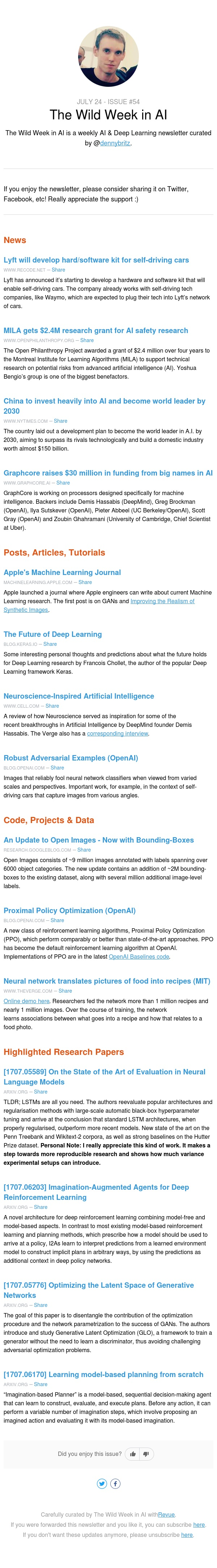 The Wild Week in AI - Lyft invests in self-driving car tech; Apple launches ML Journal; The Future of Deep Learning;