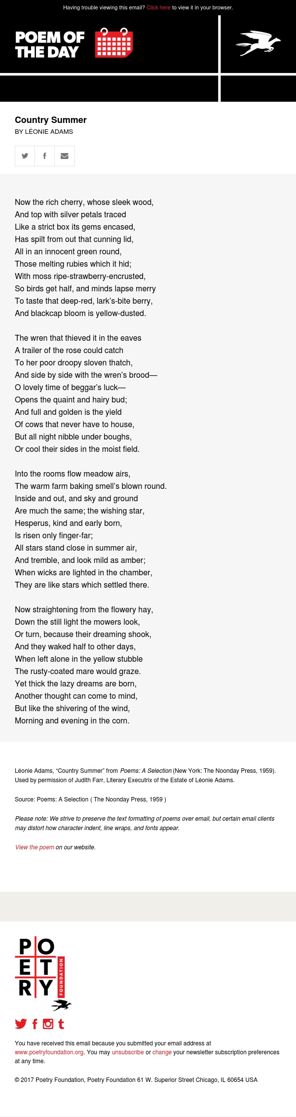 Poem of the Day: Country Summer