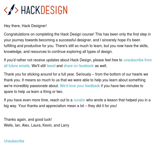 Congratulations on completing the Hack Design course!