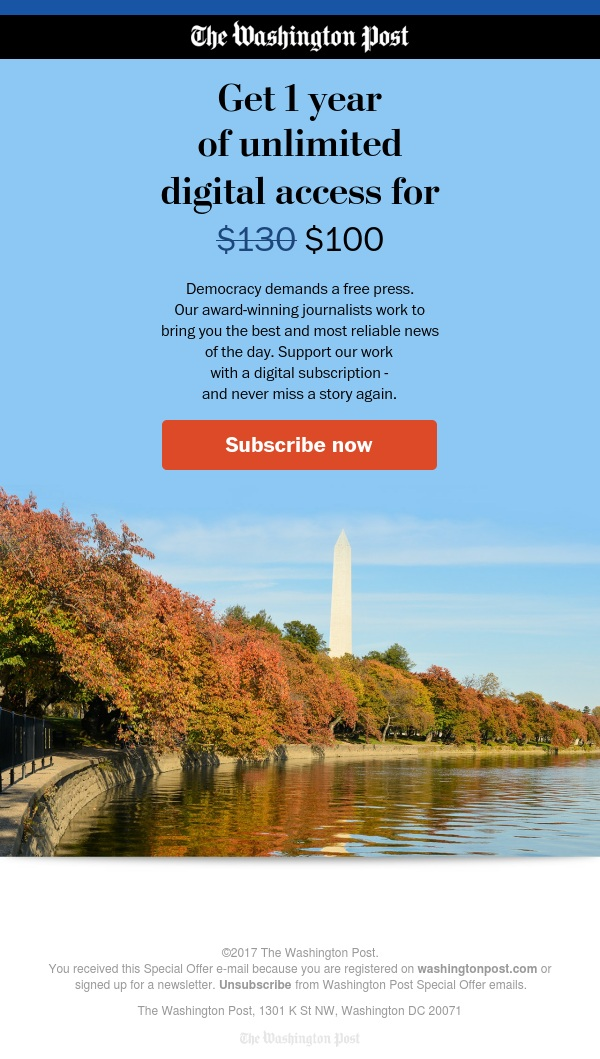 Save $30 on an annual digital subscription to The Washington Post.