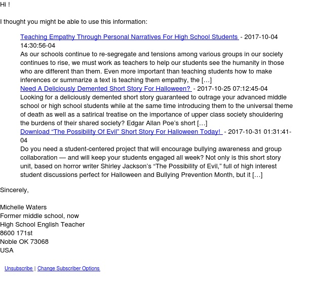 Mrs. Waters' English  Tuesday Newsletter