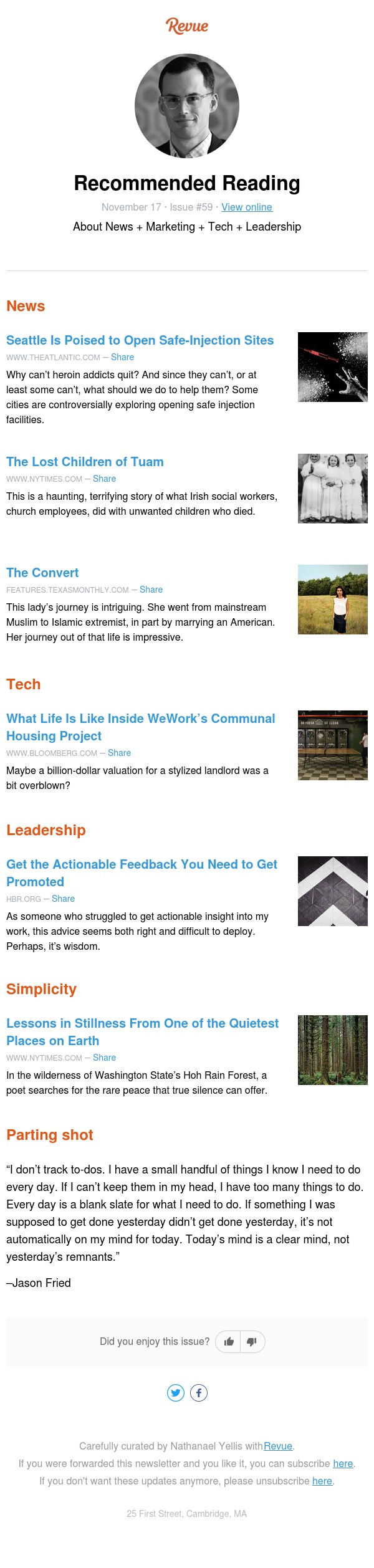 Recommended Reading in News, Tech, Leadership, and Simplicity