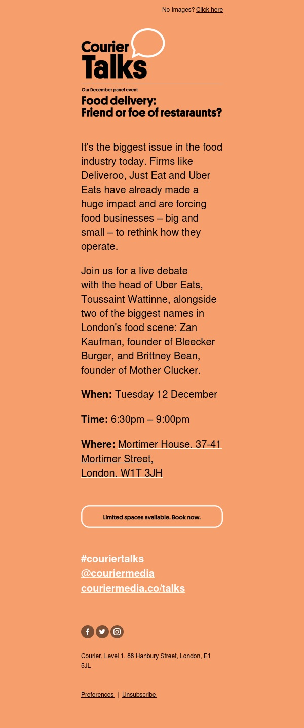 Join us to debate the future of food delivery next Tuesday