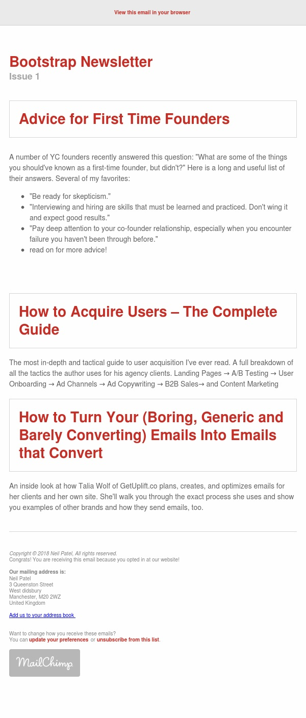 Bootstrapping Newsletter -Advice for 1st time founders & Emails that convert