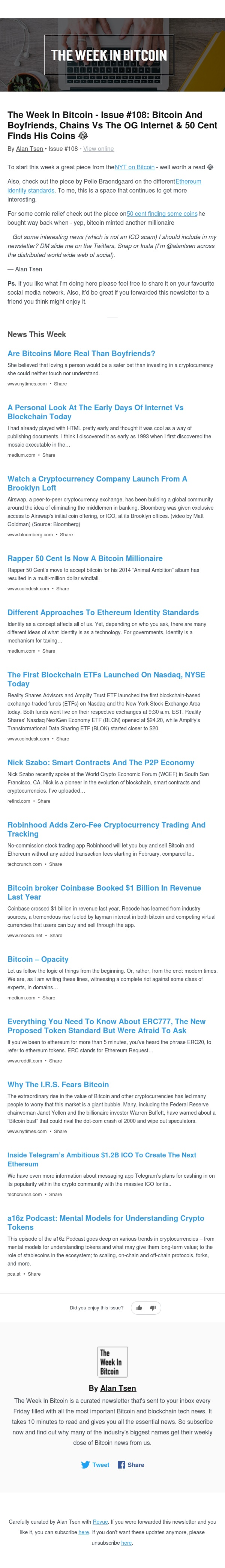 The Week In Bitcoin - Issue #108: Bitcoin And Boyfriends, Chains Vs The OG Internet & 50 Cent Finds His Coins 😂