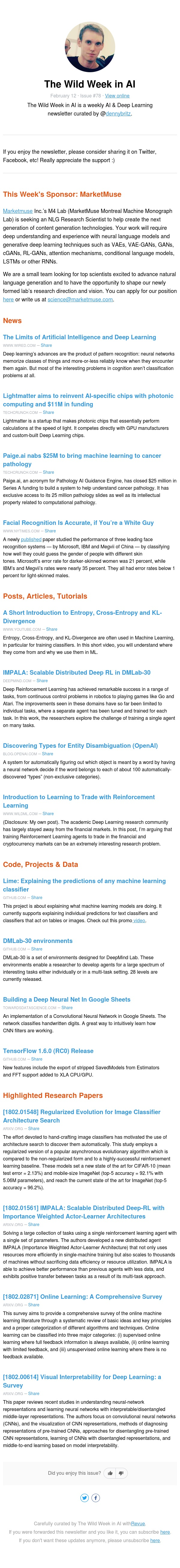 The Wild Week in AI - Limits of Deep Learning; DeepMind's IMPALA algorithm; Evolutionary architecture search