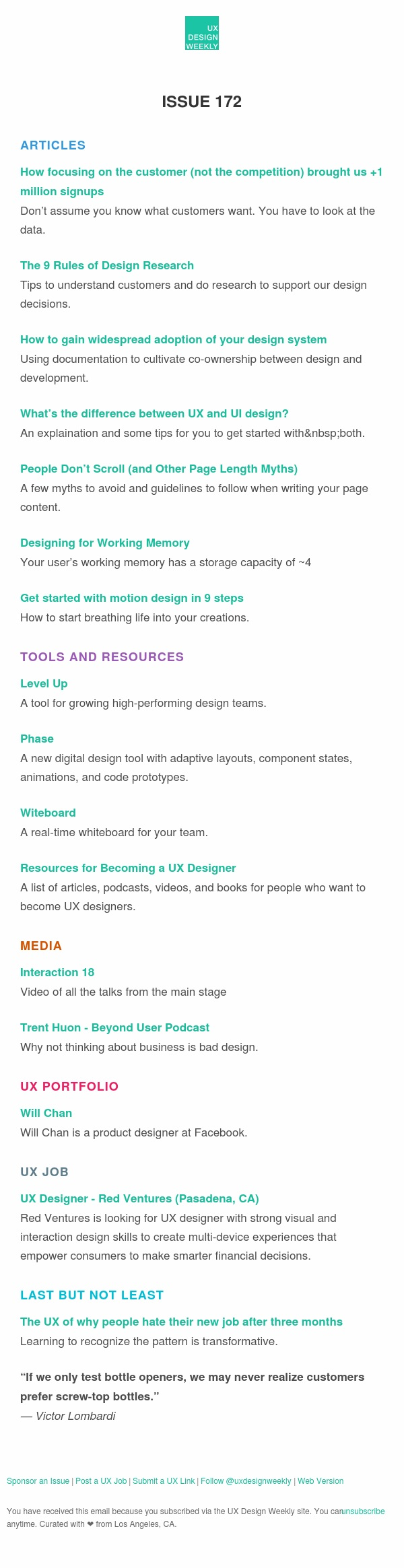 UX Design Weekly #172: Focusing on the Customer, Rules of Design Research, Interaction 18