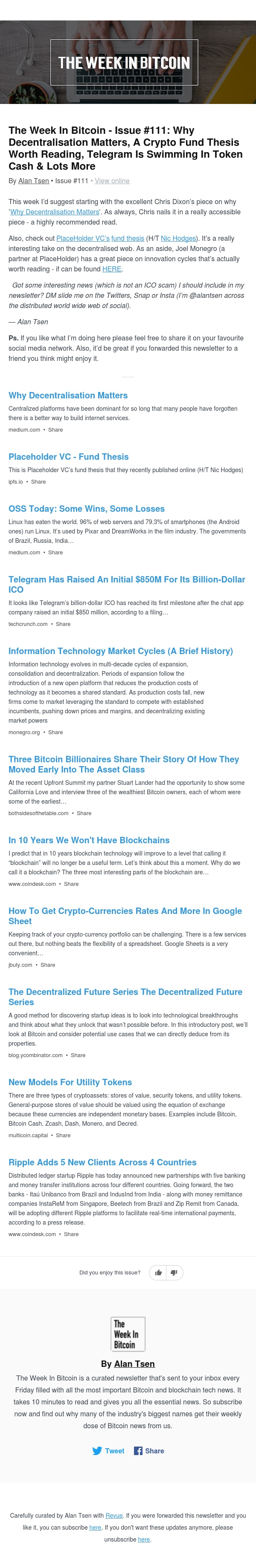 The Week In Bitcoin - Issue #111: Why Decentralisation Matters, A Crypto Fund Thesis Worth Reading, Telegram Is Swimming In Token Cash & Lots More