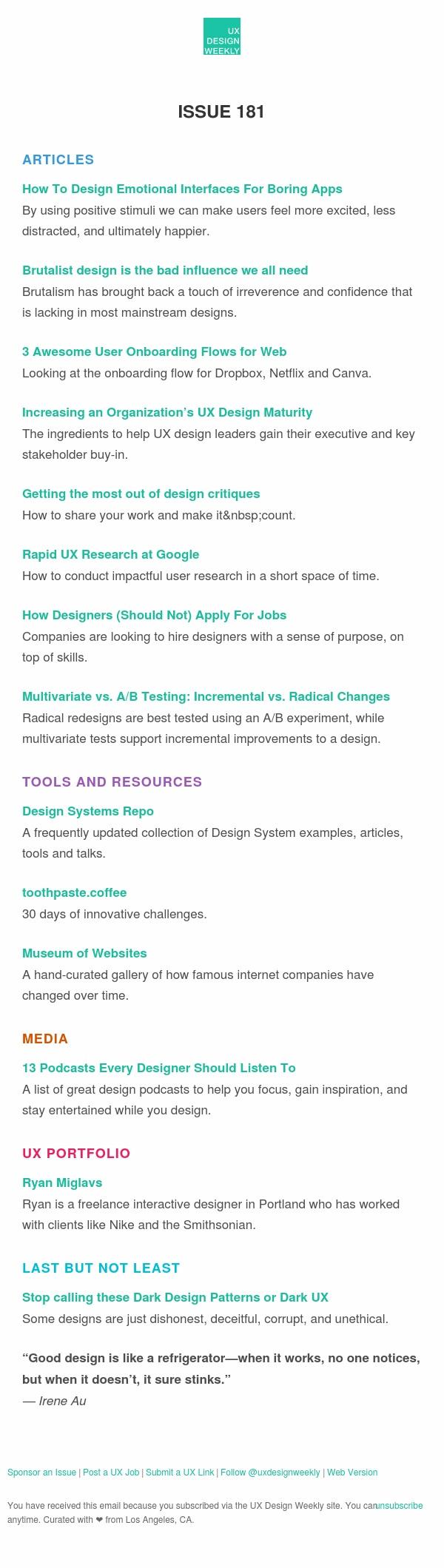 UX Design Weekly #181: Design Emotional UI's for Boring Apps, Brutalist Design, Rapid UX Research