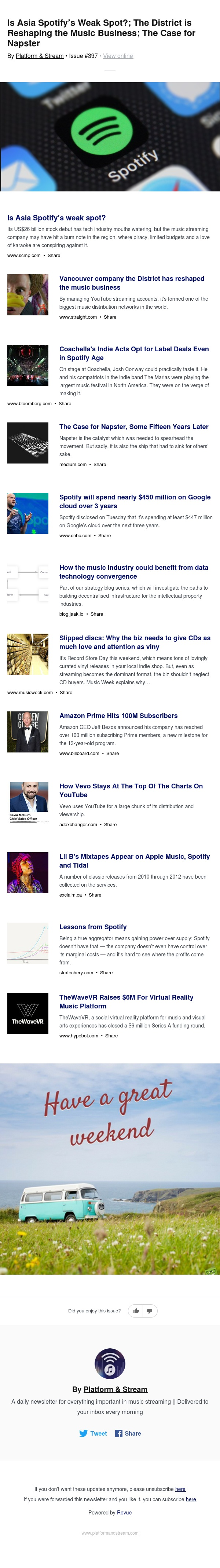 Is Asia Spotify's Weak Spot?; The District is Reshaping the Music Business; The Case for Napster