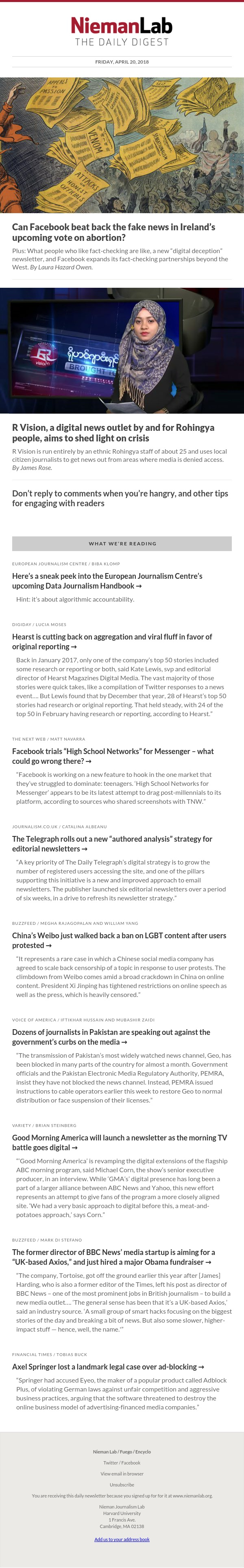 Can Facebook beat back the fake news in Ireland's upcoming vote on abortion?: The latest from Nieman Lab