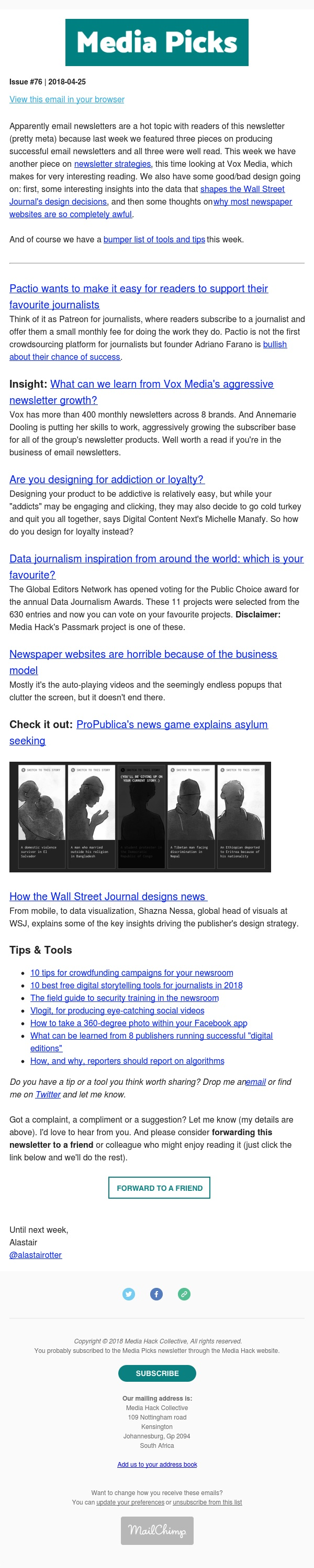 Media Picks #76 Newsletter strategies, good vs bad design & lots of tools and tips
