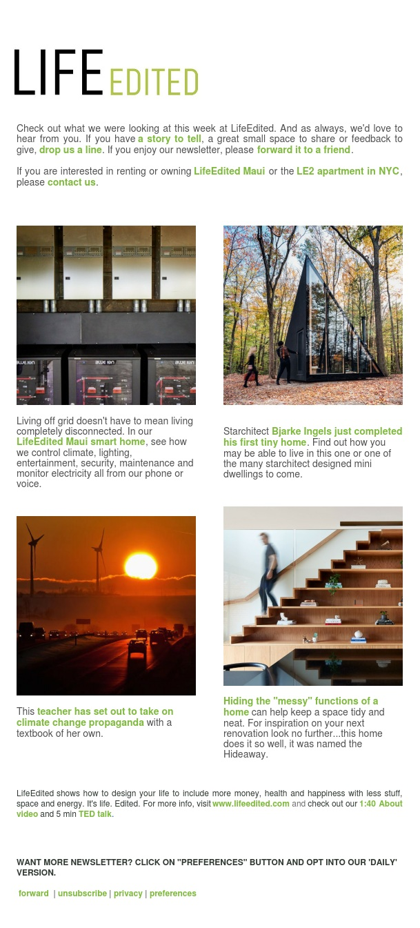 Off grid smart house, climate change education, tiny homes by Bjarke Ingels, and more...