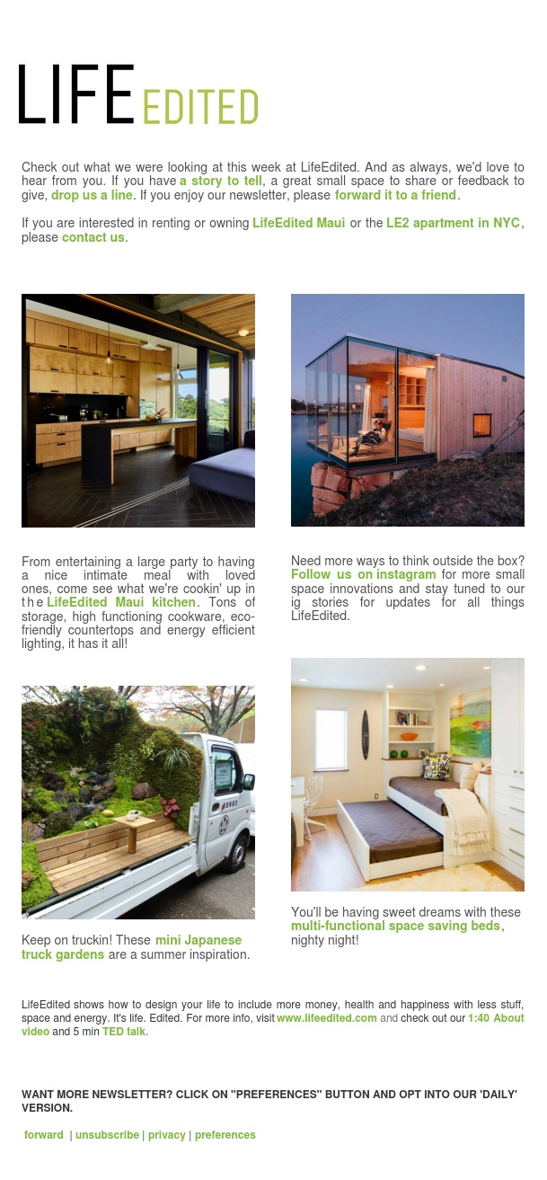 LifeEdited Maui Kitchen, Mini Truck Gardens, Space Saving Beds and more...