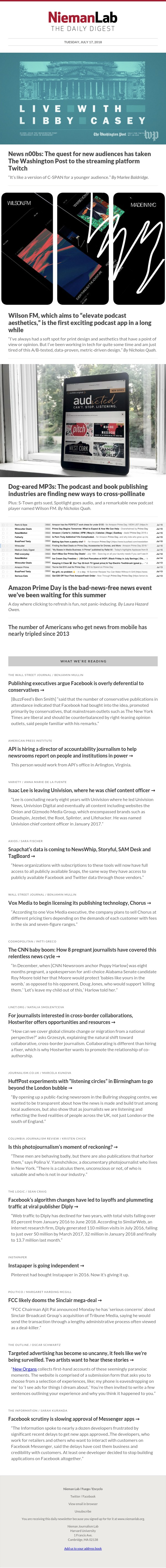 News n00bs: The quest for new audiences has taken The Washington Post to the streaming platform Twitch: The latest from Nieman Lab