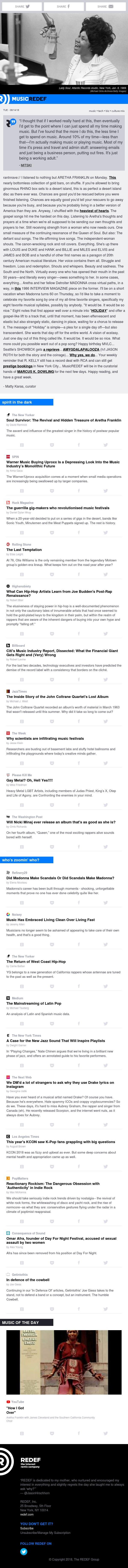 jason hirschhorn's @MusicREDEF: 08/14/2018 - Thinking of the Queen, Warner x Uproxx, The Last Temptation, Joe Budden, Nicki Minaj, 'Holiday'...