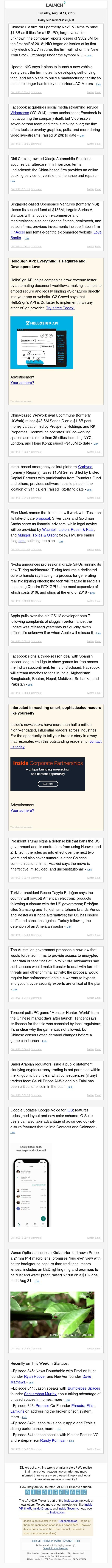 NIO files for $1.8B IPO, Facebook acqui-hires Vidpresso