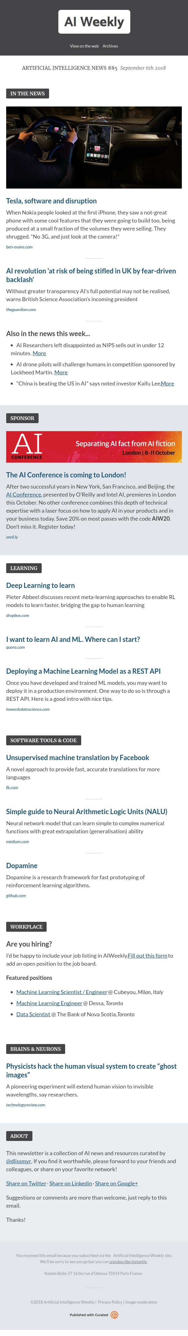 Artificial Intelligence Weekly - Artificial Intelligence News #85