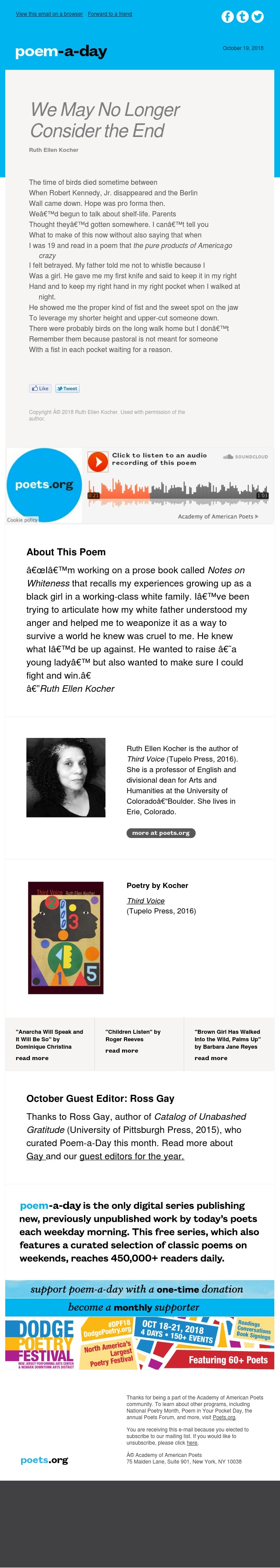 """We May No Longer Consider the End"" by Ruth Ellen Kocher"