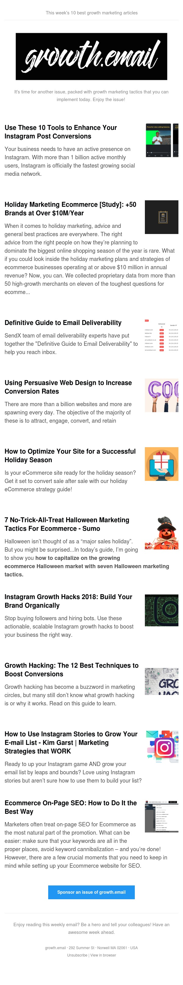 growth.email #82 Instagram Marketing Strategies | Growth Hacking Techniques | Halloween Marketing Tactics For Ecommerce | Persuasive Web Design