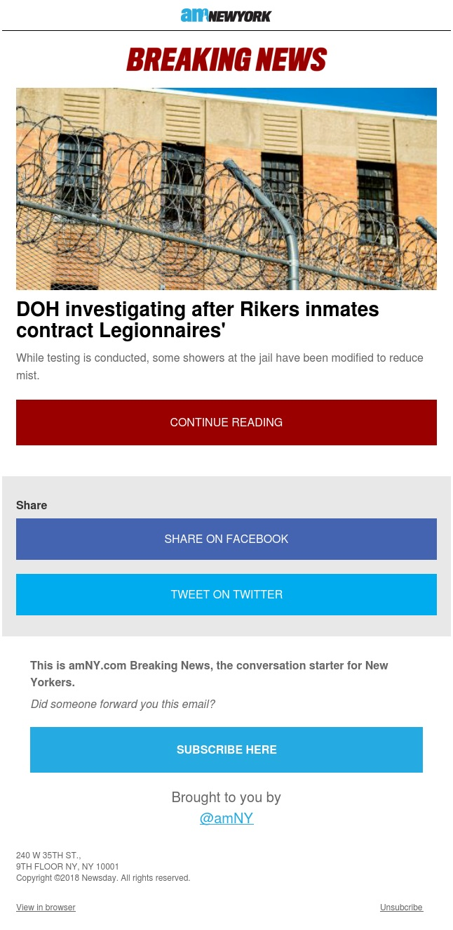 Legionnaires' disease at Rikers Island sparks DOH investigation