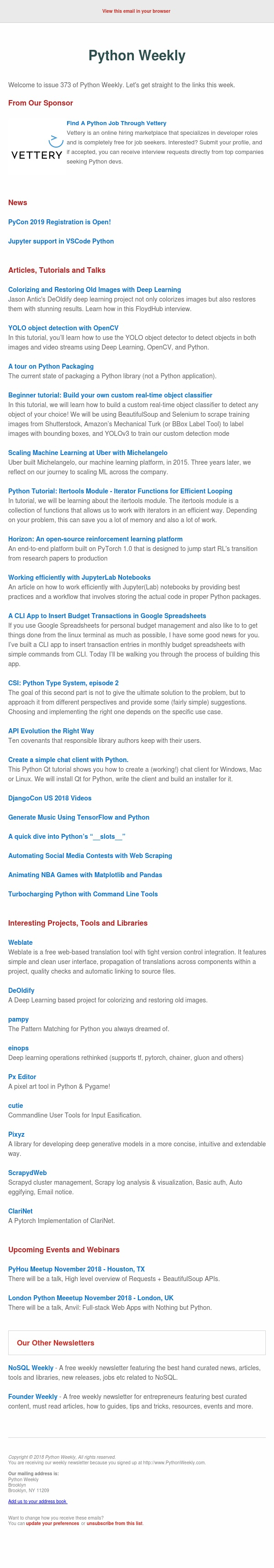 Python Weekly - Issue 373