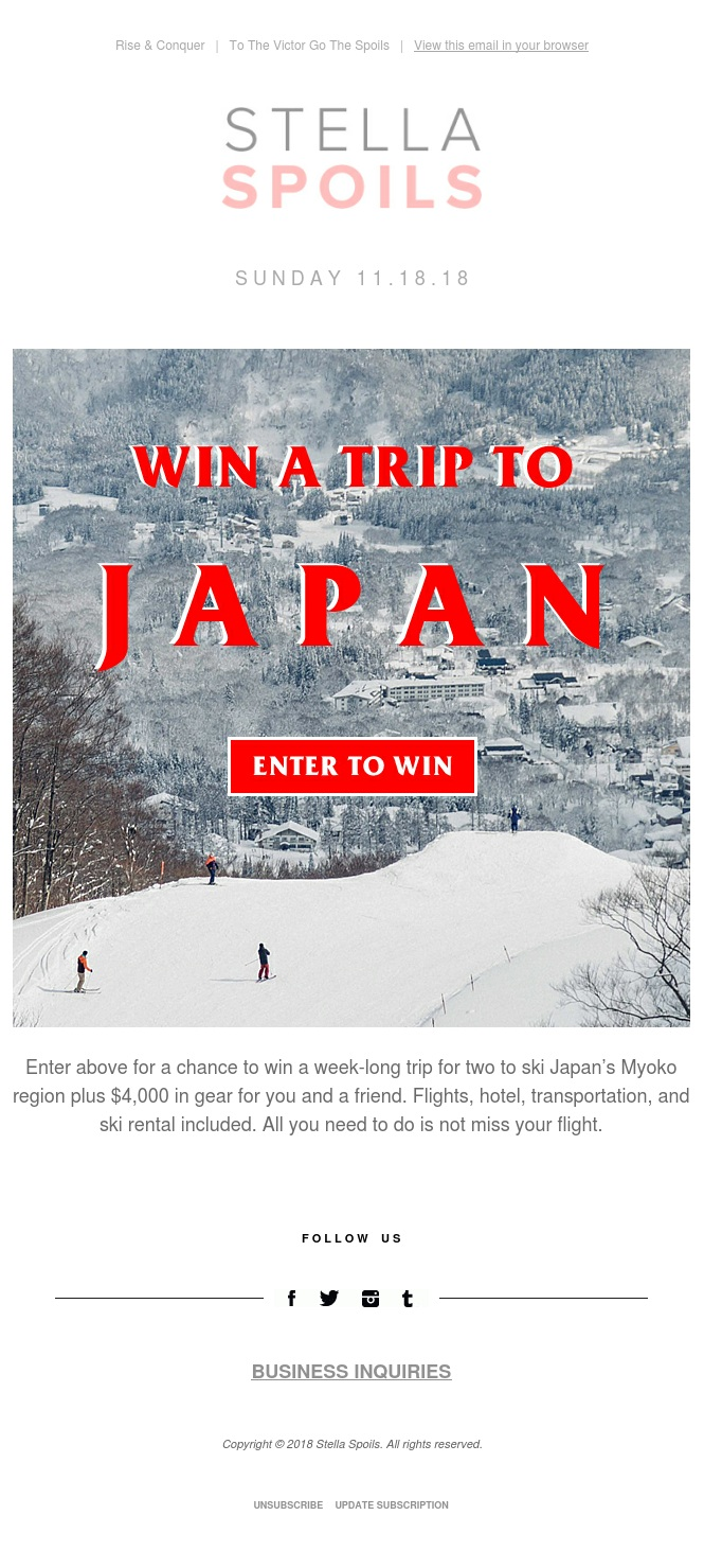 Win a 7-Day Ski Trip for Two to Japan + $4000 in Gear