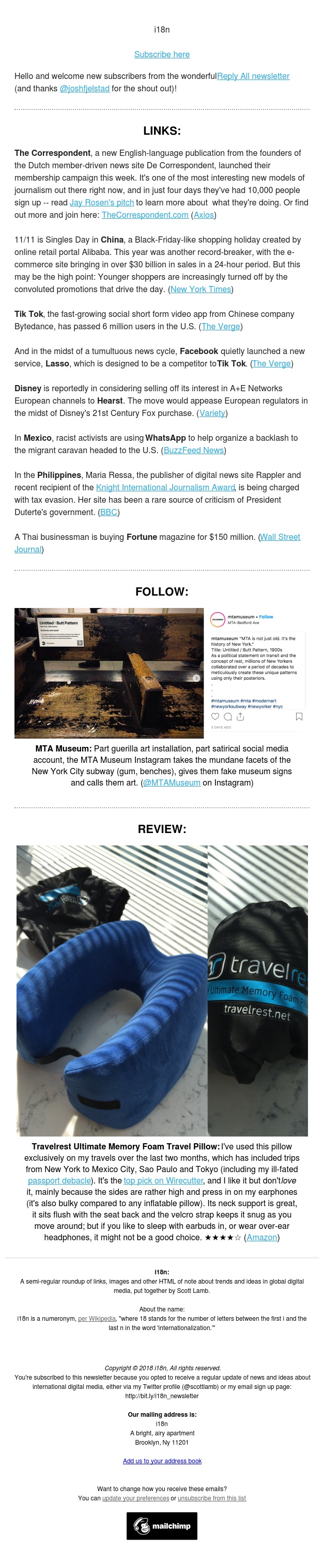 i18n #76: A new membership-driven news site + a travel pillow review