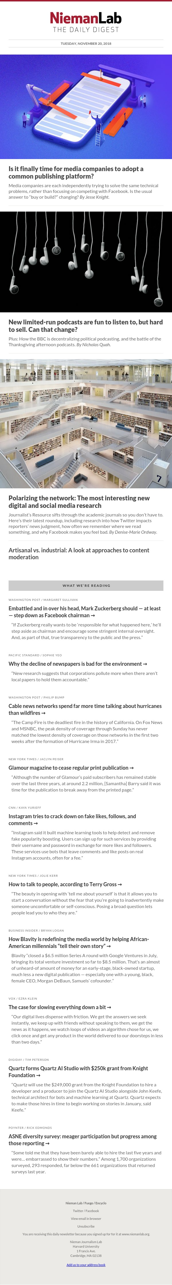 Is it finally time for media companies to adopt a common publishing platform?: The latest from Nieman Lab