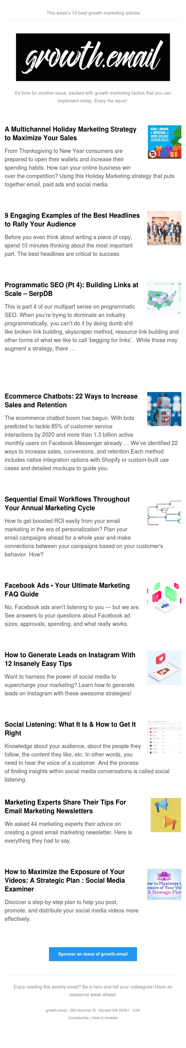 growth.email #85 Holiday Marketing Strategy To Increase Sales | Best Headlines To Rally Your Audience | Building Links at Scale | 22 Ways To Increase Sales and Retention