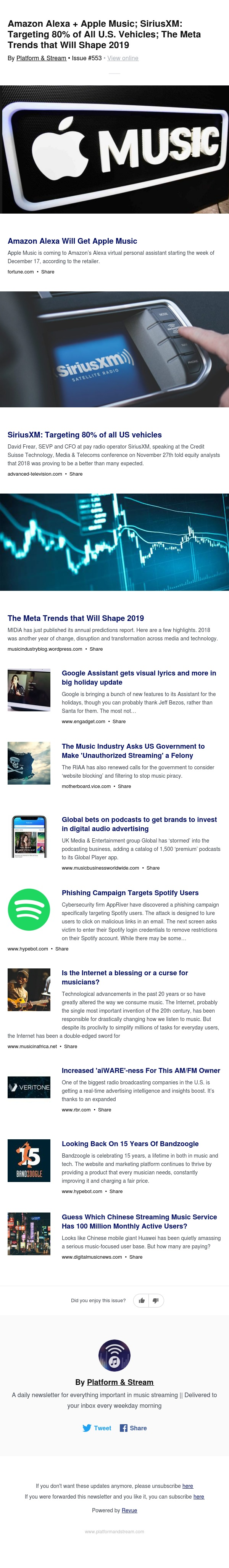 Amazon Alexa + Apple Music; SiriusXM: Targeting 80% of All U.S. Vehicles; The Meta Trends that Will Shape 2019