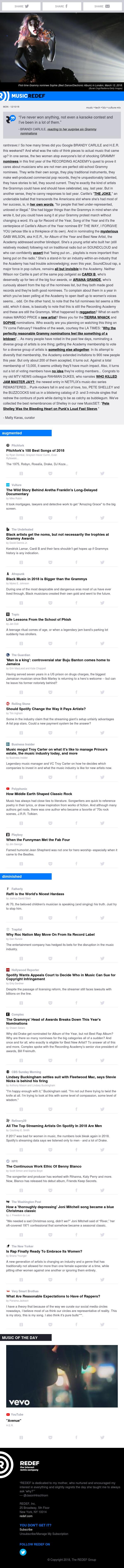 jason hirschhorn's @MusicREDEF: 12/10/2018 - Grammy Surprises, Pitchfork's Best, Big-Screen Aretha, Phishing Lessons, Buju Banton, Troy Carter...