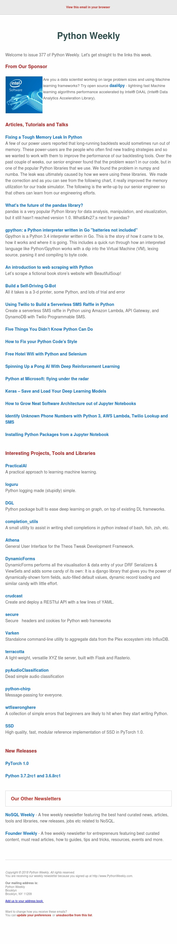 Python Weekly - Issue 377