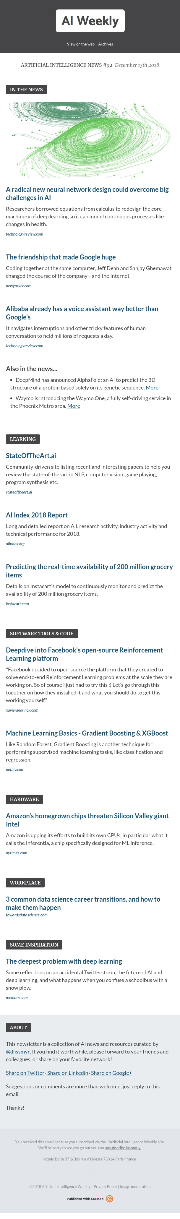 Artificial Intelligence Weekly - Artificial Intelligence News #92