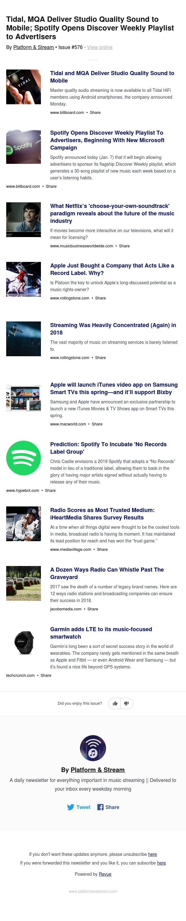 Tidal, MQA Deliver Studio Quality Sound to Mobile; Spotify Opens Discover Weekly Playlist to Advertisers