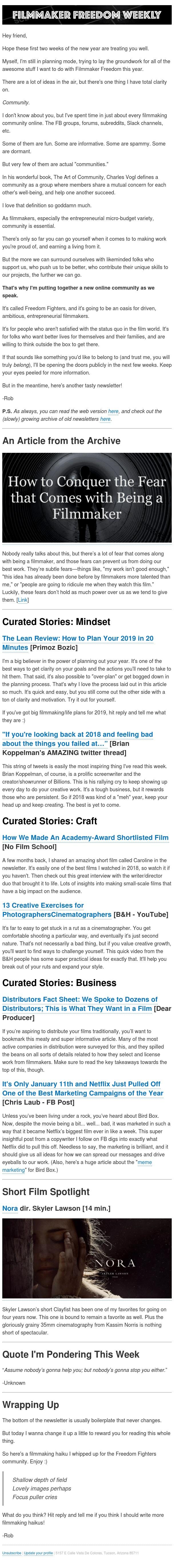 [Newsletter] Every ambitious filmmaker needs a community