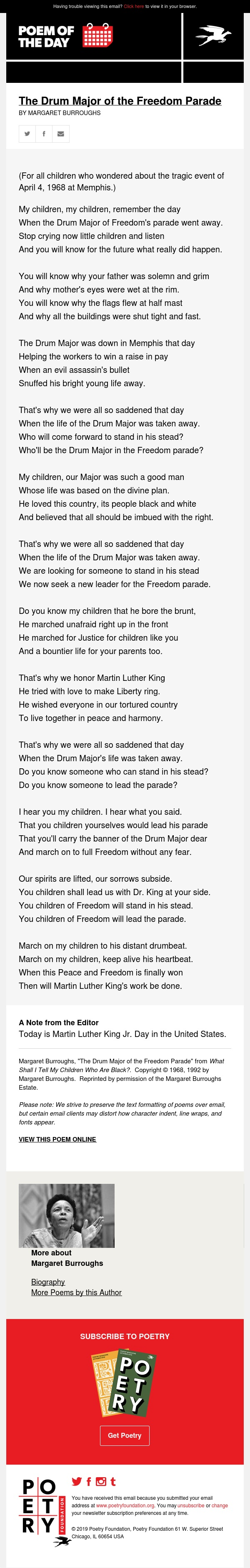 Poem of the Day: The Drum Major of the Freedom Parade