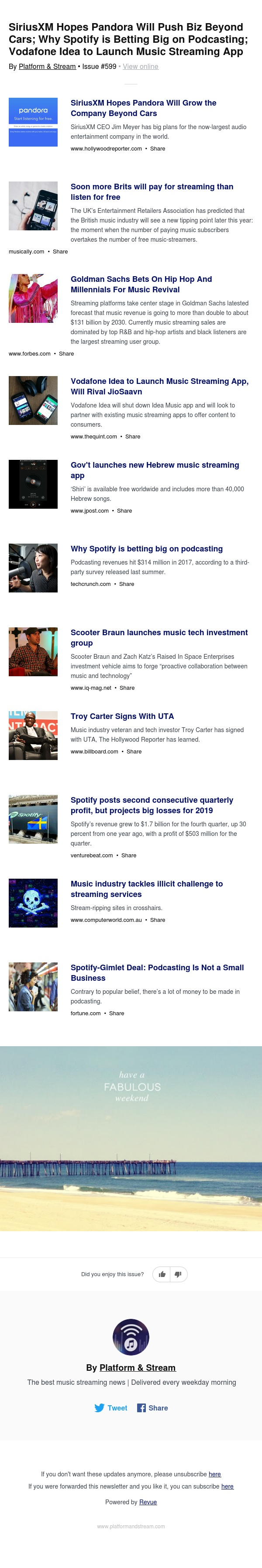 SiriusXM Hopes Pandora Will Push Biz Beyond Cars; Why Spotify is Betting Big on Podcasting; Vodafone Idea to Launch Music Streaming App