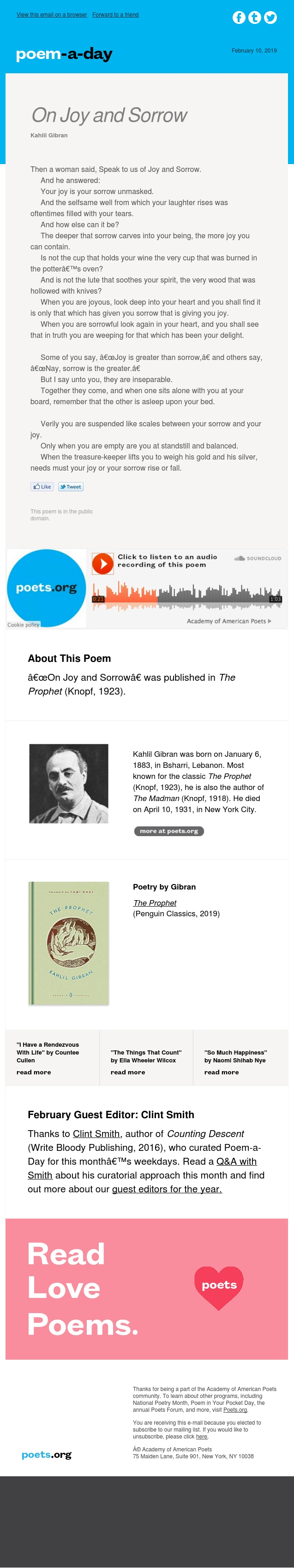 """On Joy and Sorrow"" by Kahlil Gibran"